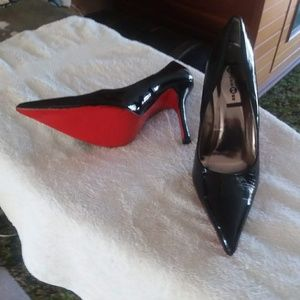 Black patent red bottoms